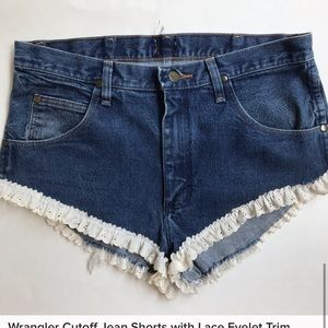 Wrangler eyelet trim denim shorts